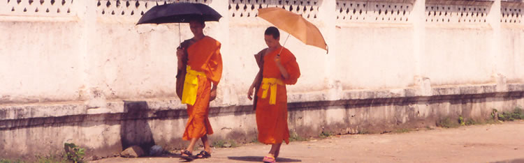 Monks stroll along a street in Luang Prabang, Laos