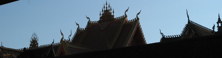 Ornate temple rooftops, Vientiane, Laos
