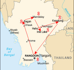 Route map, Burma Hill Tribes Tour